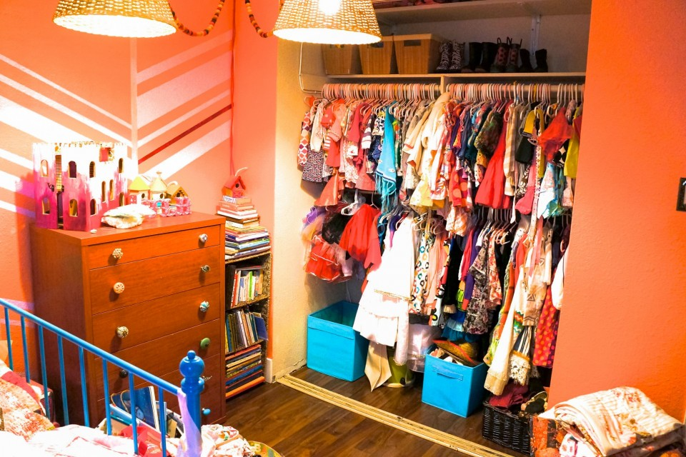 After: Combining Kids Closets